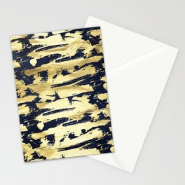 Smoky Gold & Black Abstract Paint Brush Strokes Pattern Stationery Cards