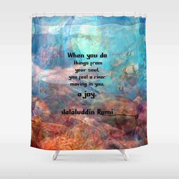 Rumi Inspirational JOY Quotation With Underwater Ocean Scene Shower Curtain