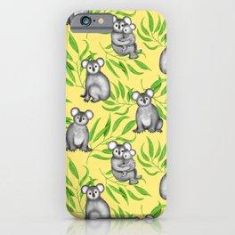 Koala Pattern Charitable Art (Yellow Background) iPhone Case