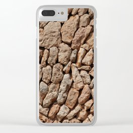 Stone wall background Clear iPhone Case
