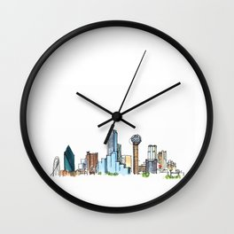 downtown dallas skyline Wall Clock