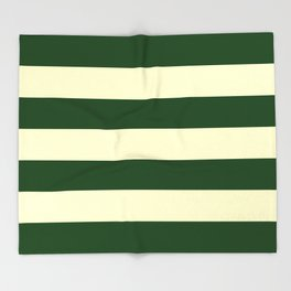 Dark Emerald Green and Cream Large Stripes Throw Blanket