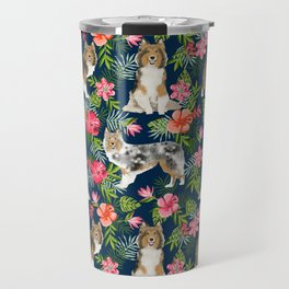 Sheltie shetland sheepdog hawaii floral hibiscus flowers pattern dog breed pet friendly Travel Mug
