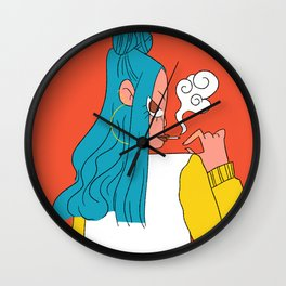 Blue hair girl Wall Clock