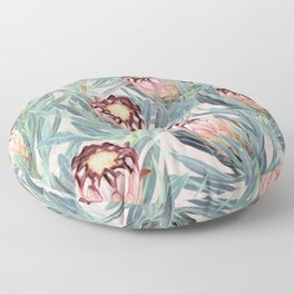 Pale Painted Protea Neriifolia Floor Pillow