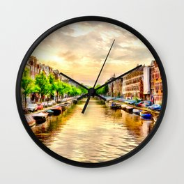 Beautiful sunset in Amsterdam, The Netherlands Wall Clock