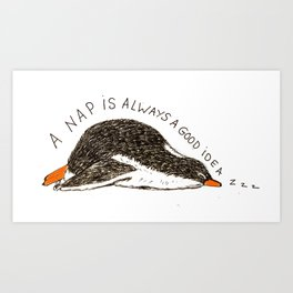Penguin's nap Art Print