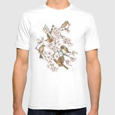 Too many birds MEDIUM White Mens Fitted Tee