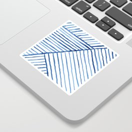 Abstract geometric blue stripes watercolor print Sticker