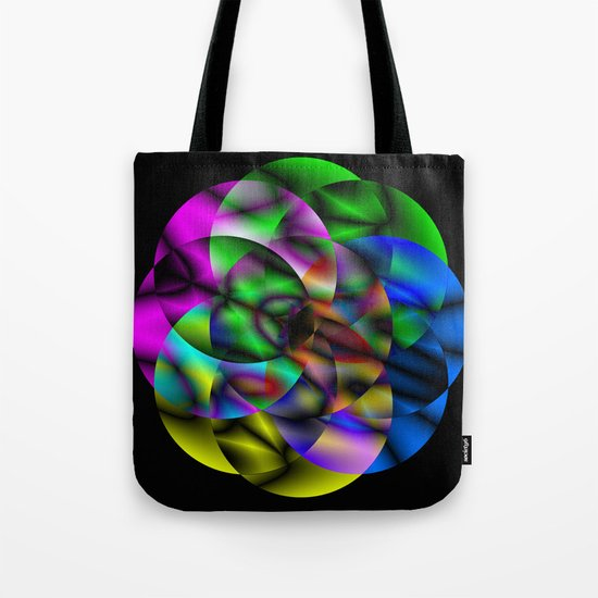 Concentric Vibrancy - Abstract, neon, geometry artwork Tote Bag