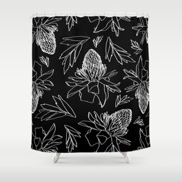 Tropical Ginger Plants in Black + White Shower Curtain
