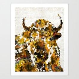 Modern Yellow Buffalo Art by Sharon Cummings Art Print
