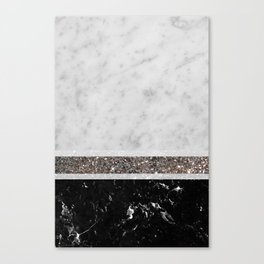 White and Black Marble Silver Glitter Stripe Glam #1 #minimal #decor #art #society6 Canvas Print