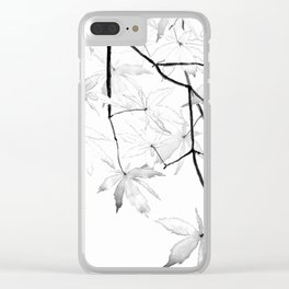 black and white maple leaves Clear iPhone Case