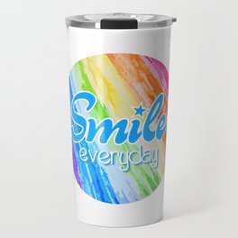 Smile Everyday, Happy sticker, Cute sticker, crayon colors, blue version Travel Mug