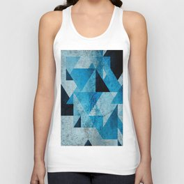 Plane And Solid Geometry Charming plaid triangle blue black Unisex Tank Top