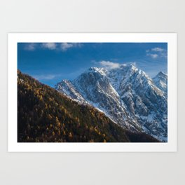 Autumn and winter at snowy mountains Art Print