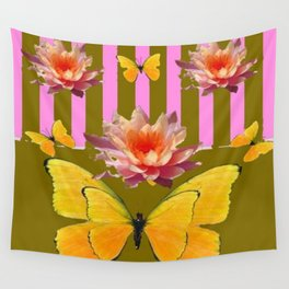 PINK WATER LILIES STRIPED BUTTERFLY PATTERNED ART Wall Tapestry
