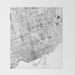 Toronto White Map Throw Blanket