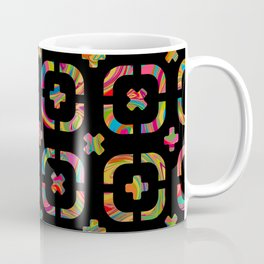 Psychedelic Curves + Crosses on Black (pattern) Coffee Mug