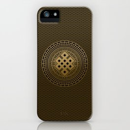 Gold Endless Knot  in Mandala Decorative Shape iPhone Case