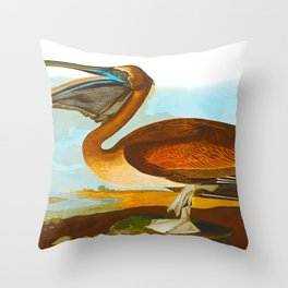 Brown Pelican Illustration Throw Pillow