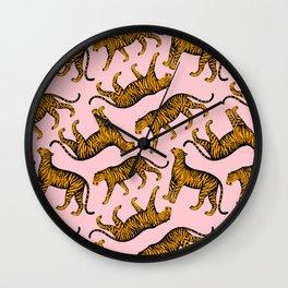Tigers (Pink and Marigold) Wall Clock