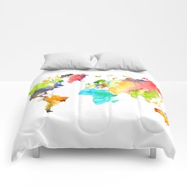 Watercolor World Comforters