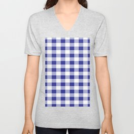Blue and White Buffalo Plaid Unisex V-Neck