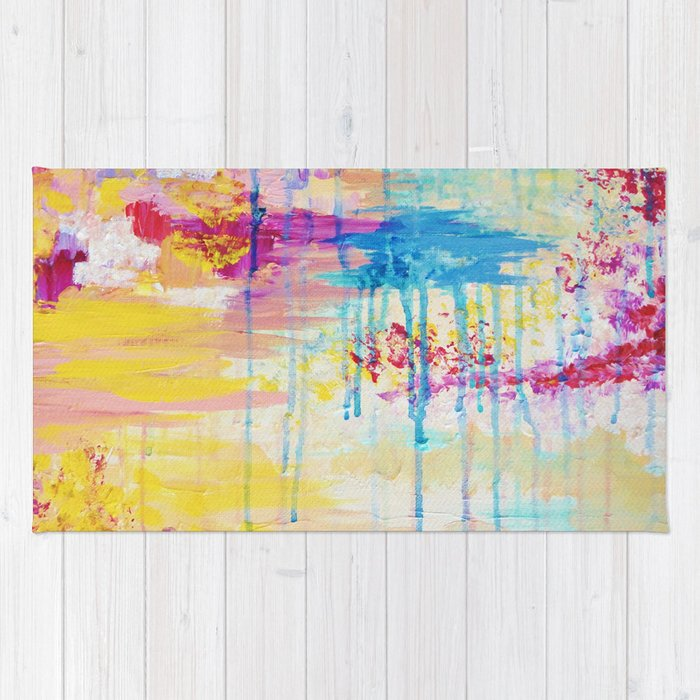 Brighter Days Beautiful Soft Pastel Colours Painting Rain Cloud Sunny Sky Abstract Nature Acrylic Rug