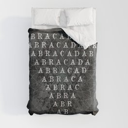 Abracadabra Reversed Pyramid in Charcoal Black Duvet Cover