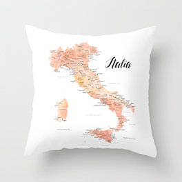 Map of Italy, rose gold watercolor Throw Pillow