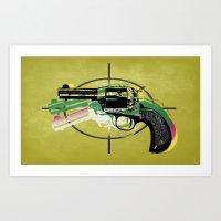 gun Art Prints featuring gun by mark ashkenazi