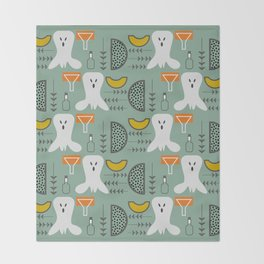 Mid-century spooky pattern Throw Blanket