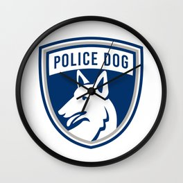 Police Dog Shield Mascot Wall Clock