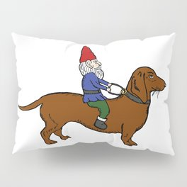 Gnome Riding a Dachshund Pillow Sham
