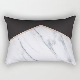 Gilded ebony and soft white marble Rectangular Pillow
