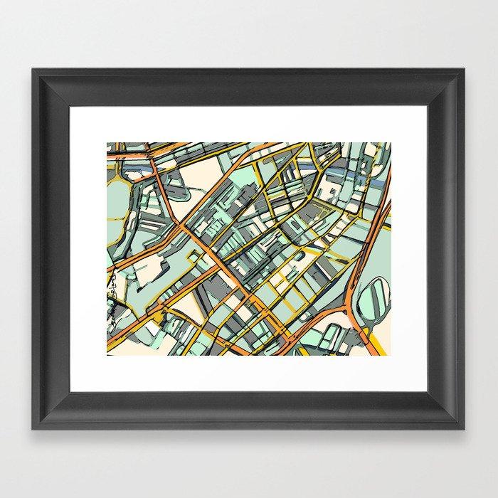 Abstract Map- Boston South End Gerahmter Kunstdruck