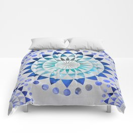 Mandala Pattern blue and turquoise Comforters