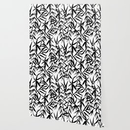 Black and White Watercolor Bamboo Seamless Pattern Wallpaper