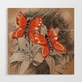 Butterflies and Lillies Wood Wall Art