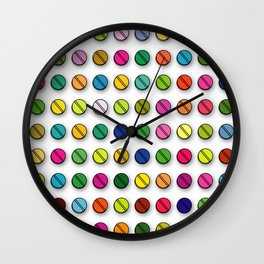 Multi-coloured Pills Pattern square Wall Clock