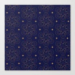 Abstract Faux Gold Circles and Stars Pattern Indigo Blue Canvas Print