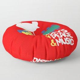 Woodstock 1969 - red background Floor Pillow