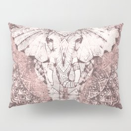 Bohemian, Elephant, Mandala, Blush, Moon Pillow Sham