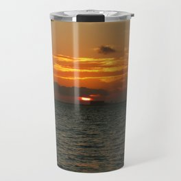 Sunset in the calm sea with red sky, gray cloud and a parachute Travel Mug