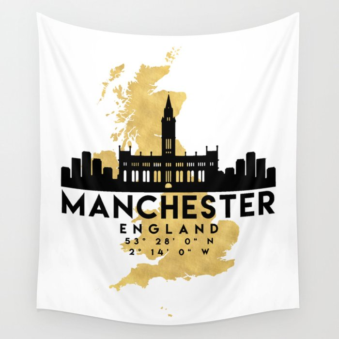 MANCHESTER ENGLAND SILHOUETTE SKYLINE MAP ART Wall Tapestry by ...