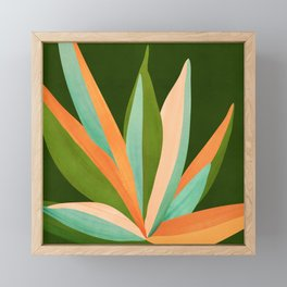 Colorful Agave / Painted Cactus Illustration Framed Mini Art Print