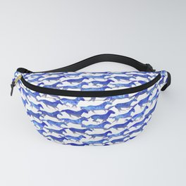 Running Watercolor Horses Pattern - Blue Fanny Pack