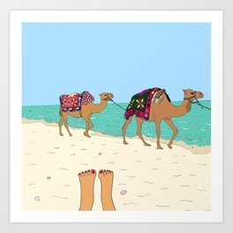 Camels on the Beach Art Print